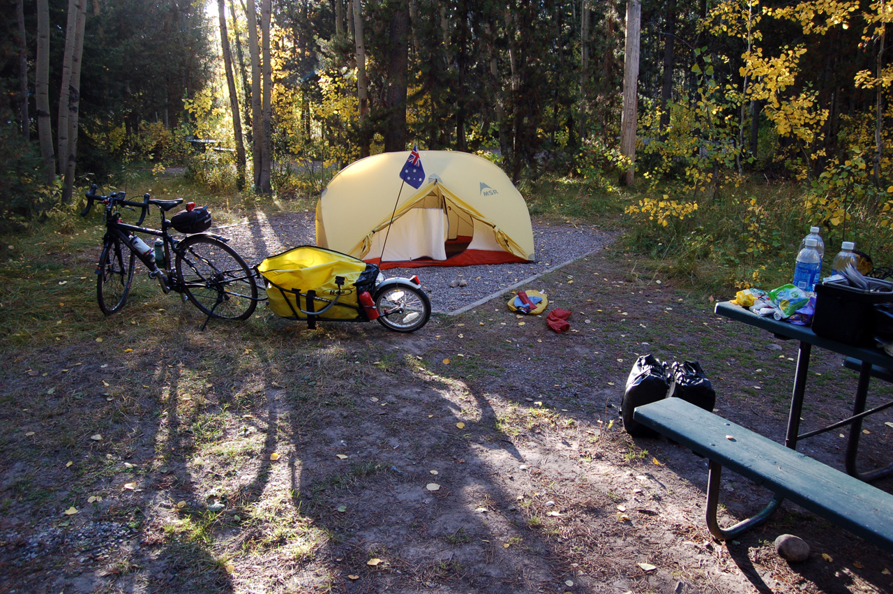Camping for the night at Colter Bay Village