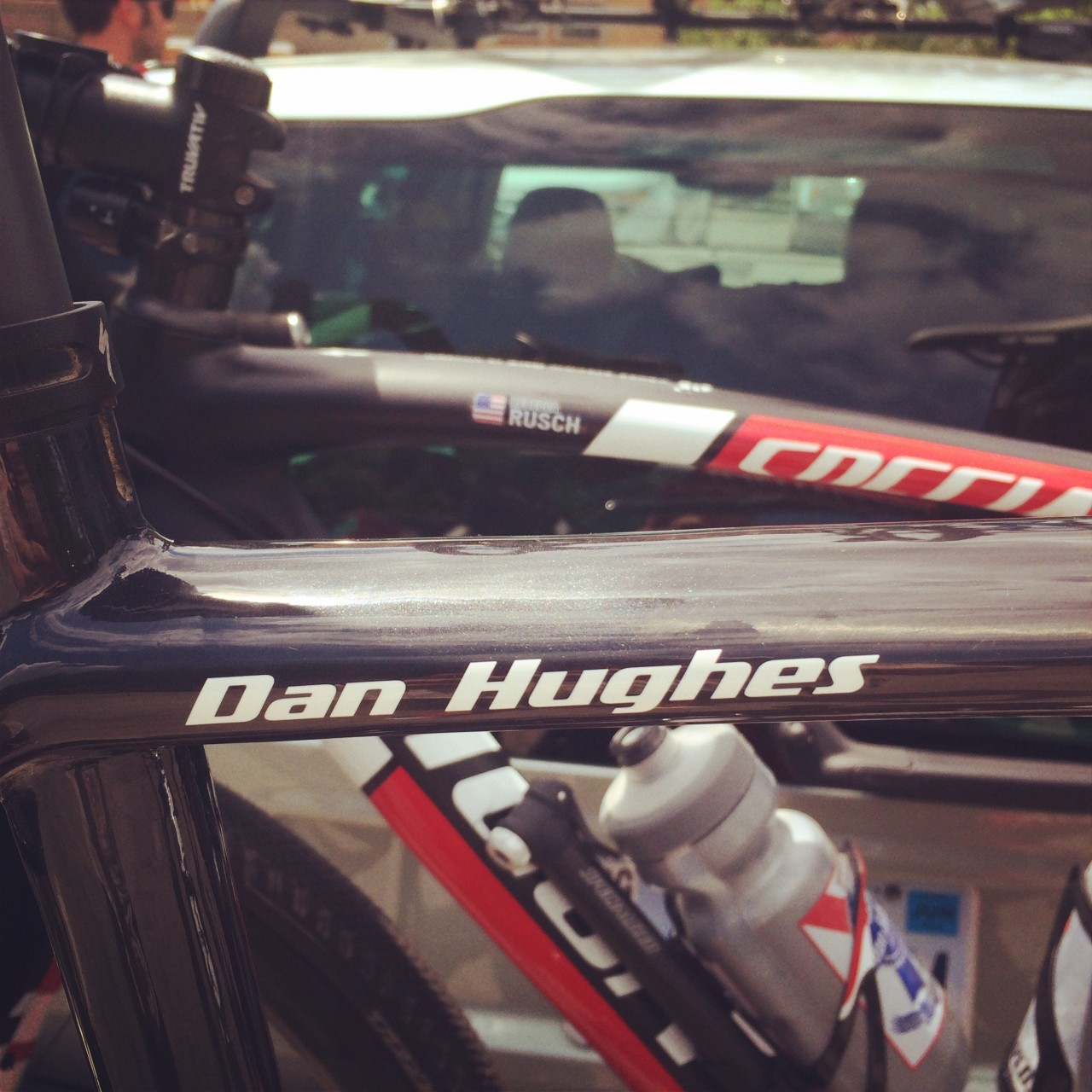5 bikes on a the car, two of them to be piloted by a reigning King and a Queen the next day.