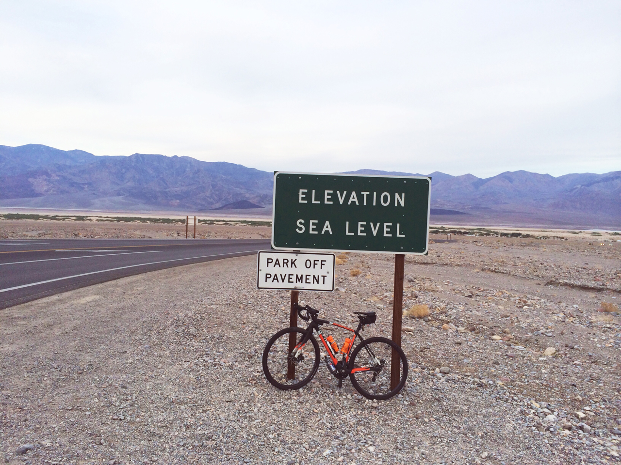 In Furnace Creek, Death Valley: the start of the ride from Sea Level to Dante's View.