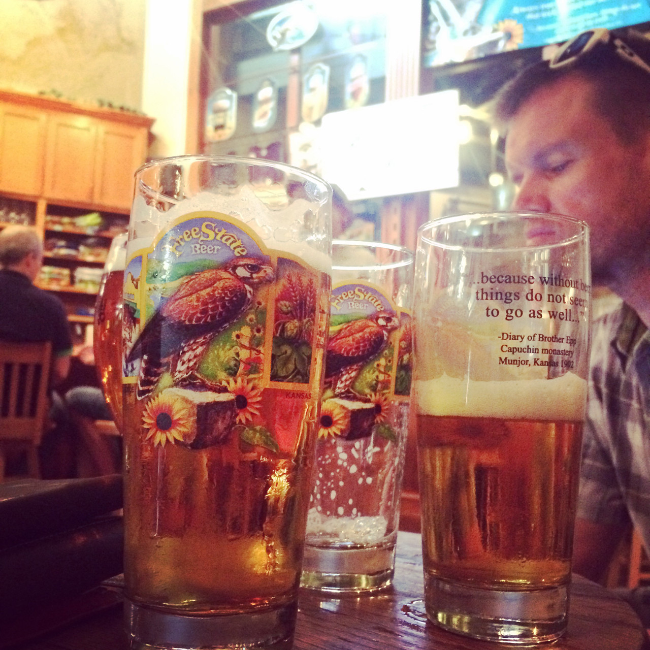 In Lawrence, Mothra gives us our first taste of the Kanza Kolsch. It's pretty damn good!